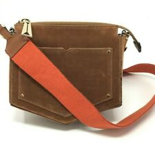 "Eddie Borgo Crossbody ""Lyle"" Bag. Brown with a rust canvas crossbody strap."