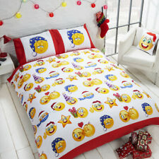 Emoji Icons Black And White Reversible Christmas Themed Double Duvet Cover Set