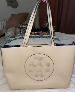 NEW TORY BURCH PERFORATED PEBBLED LEATHER TOTE BAG PURSE RARE!
