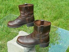 """DURANGO 7"""" Pull-On Brown Leather Wellington Boots 8 1/2 D  Made in USA"""
