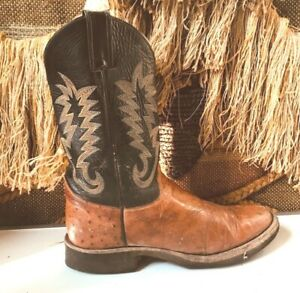 Justin Cowboy Size 9.5 B Brown/Blue Leather Western Womens Boot  5016