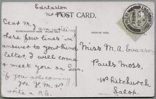 1910 Postcard sent to Miss M.A. Evanson, Paul's Moss, Whitchurch, Salop