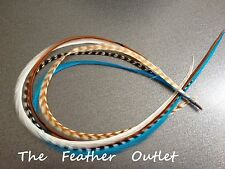 Bonded Feathers Extensions In Hair saddle long Grizzly Stripe Brown Natural NAT