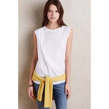 NWT Anthropologie White Draped-Front Tank By Everleigh White Sz L