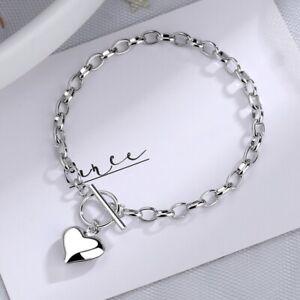 Beautiful Heart Charm Bracelet 925 Sterling Silver Womens Jewellery Gifts UK