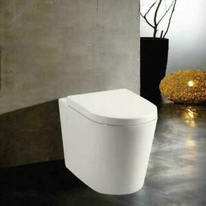 Round Modern Back to Wall Toilet Soft Close Seat Round BTW Pan Concealed Cistern