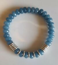 Aquamarine rondelle beads with Links Of London silver sweetie rings -bracelet