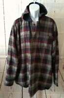 Outdoor Life Men's Flannel Cotton Insulated Rugged Hooded Shirt Jacket Plaid XL