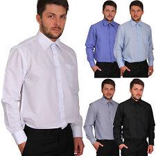 Herren Hemd Uni Business Hochzeit Freizeit Regular Gerade Langarm Anzug Oberhemd