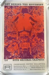 Vintage Poster Get Behind Movement Blacklight Psychedelic Motorcycle Woman 1960s