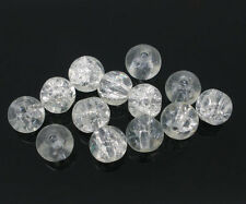 200 Clear Crackle Glass Beads 6mm Jewellery Making Crafts J04924xf