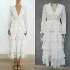 White Black Long Sleeves deep  V Neck Evening Dress Tiered Lace  White 04030