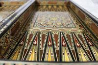 Neu Holz Backgammon/Schach,Dama, Brett Damaskunst mit 30 Holz  Backgammon Steine