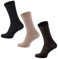 3 Pairs Mens Plain Stay-Up Black Beige Brown 100% Cotton Socks, UK Size 6-11