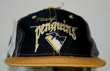 NEW Vintage PITTSBURGH PENGUINS THE GAME SNAPBACK HAT HOCKEY NHL BLACK-YELLOW