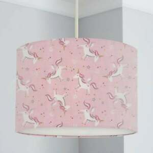 Unicorn Print Lampshade, Pink, Nursery Children's Bedroom, Drum Ceiling Lamp Lig