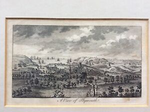 Rare antique copper plate engraving after Buck c.1750 view of Plymouth Devon