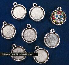 8 Bezel tray settings Silver pl holds 14mm cabochon pendant earring charm fpe170