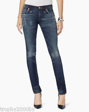NEW JUICY COUTURE $198 CRYSTAL EMBELLISHED LOW RISE SKINNY JEANS SZ 29