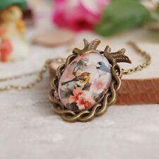 Cameo Bronze Oval Vintage Necklace Flower Bird Glass Cabochon Pendant
