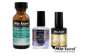 Mia Secret NATURAL NAIL PREP & NO LINES FILL LINE ERASER XTRABOND PRIMER ~ USA