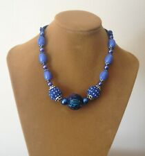 GORGEOUS PRELOVED ASSORTED BLUE BAUBLES NECKLACE