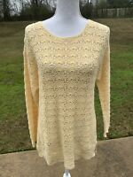 Vintage Yarnworks Sweater Size Medium Pullover Hand Knit Crochet Yellow Sweater