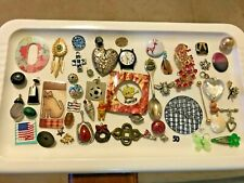 VINTAGE JEWELRY LOT Trinkets Charms Craft FRAME Winnie Pooh Sponge Bob Cat Watch