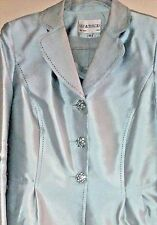 Lily & Taylor Women's 2 Piece Suit Dress Crystal Buttons-mint green size 12