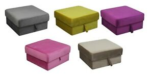 Velvet Foldable Storage Ottoman Seat Stool footrest Bench 60cm x 60cm x 30cm