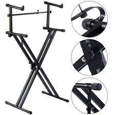 US Pro 2-Tier X Style Dual Keyboard Stand Adjustable Electronic Piano Double