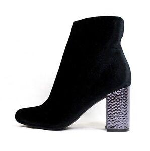 Shoe Republic Fatin Block Heel Velvet Zipper Round Toe Bootie Ankle Boots