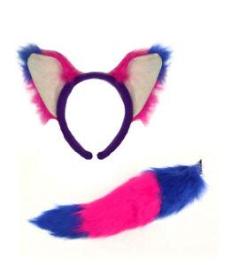 Pink & Purple Cheshire Cat Ears & Tail Set Alice Headband Book Day Fancy Dress