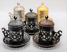 Turkish Coffee Cup Espresso Porcelain Saucer Copper Set Tulip Design
