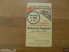 1956 FLYER STADION AMSTERDAM NEDERLAND-ENGELAND INT. SPEEDWAY PROGRAMMA 1956