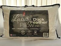 2 PACK LARGE JUMBO DUCK FEATHER HOTEL QUALITY PILLOWS WHITE COTTON WITH BAGS