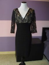 NWOT Adrianna Papell Lace-Bodice Dress SZ.12 Black