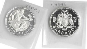 1973 Barbados 10 Dollars NEPTUNE Huge 4.2cm Genuine Silver Proof Sealed KM#17a