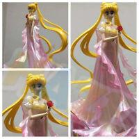 Sailor Moon Tsukino Usagi Pink Wedding Dress PVC Figure Model Doll 25cm