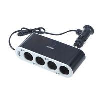 4 Way DC Car Cigarette Lighter Splitter Multi Socket USB Plug Charger Adapter