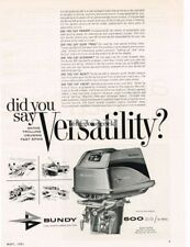 1961 BUNDY 500cc 30hp Outboard Boat Motor Did You Say Versatility? Vtg Print Ad