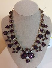 $1190 Oscar de la Renta Necklace Massive Haute Couture Runway Purple Crystal NEW