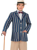 1920s English Boater Jacket Mens Fancy Dress 20s Victorian Adult Costume Std New