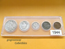 1944 Silver Birth year set 5 coins wartime nickel 35%sliver  (other years also)