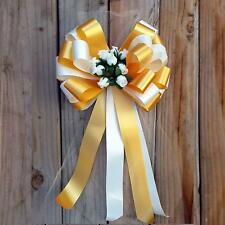 """Ivory and Gold Bows with Rosebuds and Tulle Tails, 8"""" Wide, Set of 6, Wedding"""