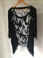 TS Taking Shape Black Pattern 3/4 Sleeve Handkerchief Hem Stretch Plus Size S 18