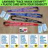 Mask Exempt Card Face Covering Exemption Asthma COPD Disability Printed Lanyard
