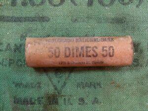 (ONE) Colo. National Bank Denver Full UNC GEM BU Mercury 50 Dime Roll