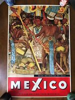 """Vtg Mexico Travel Poster Diego Rivera 24"""" x 34"""" Mexican National Tourism Council"""
