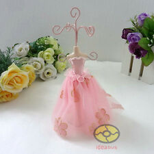 "PINK 7""tall Mannequin Dress Earring Necklace Ring Jewelry Holder Stand Display"